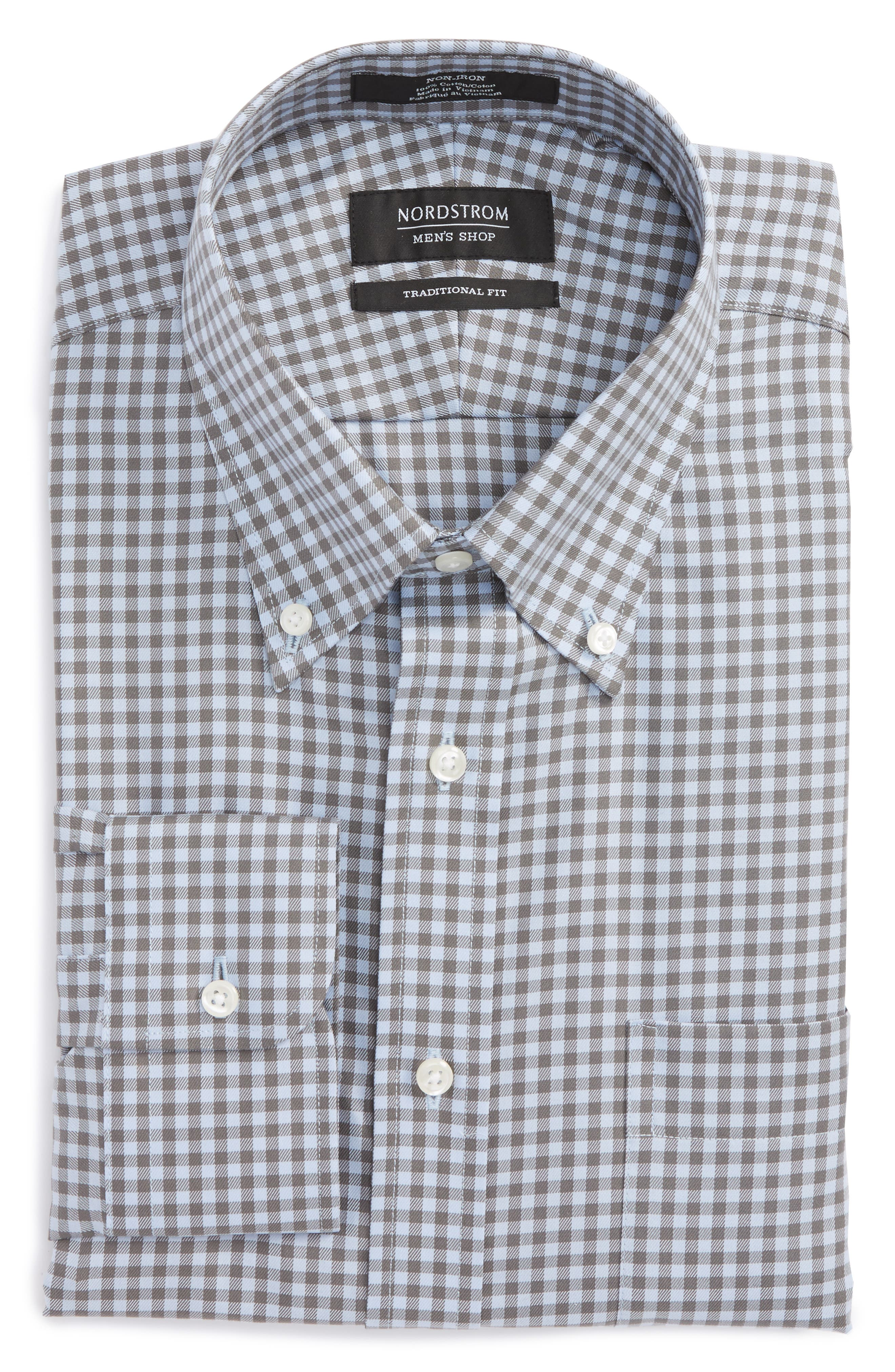 ,                             Traditional Fit Non-Iron Gingham Dress Shirt,                             Main thumbnail 37, color,                             020