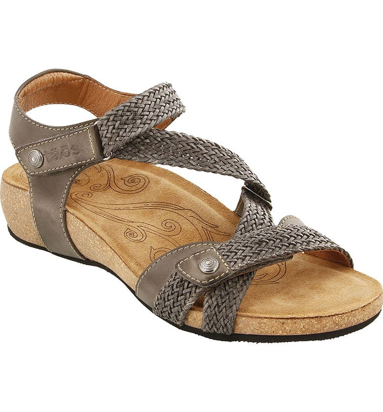 TAOS 'Trulie' Wedge Sandal, Main, color, DARK GREY LEATHER