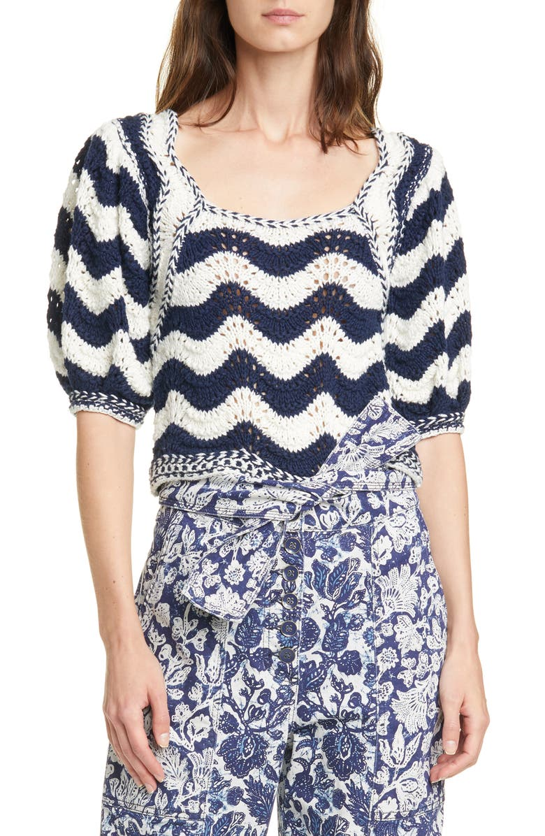 ULLA JOHNSON Luciana Wave Stripe Sweater, Main, color, MIDNIGHT