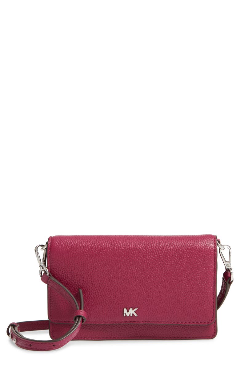 MICHAEL MICHAEL KORS Leather Convertible Crossbody Bag, Main, color, 500