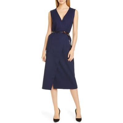 Altuzarra Belted Wool Pencil Dress, 46 FR - Blue