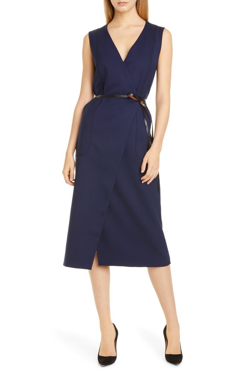 ALTUZARRA Belted Wool Pencil Dress, Main, color, 406