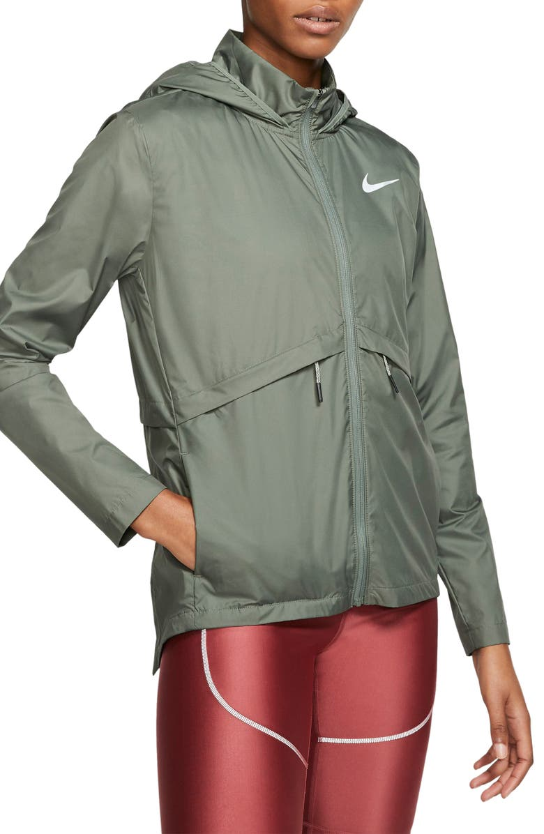 NIKE Essential Water Repellent Hooded Rain Jacket, Main, color, JUNIPER FOG/ REFLECTIVE SILV
