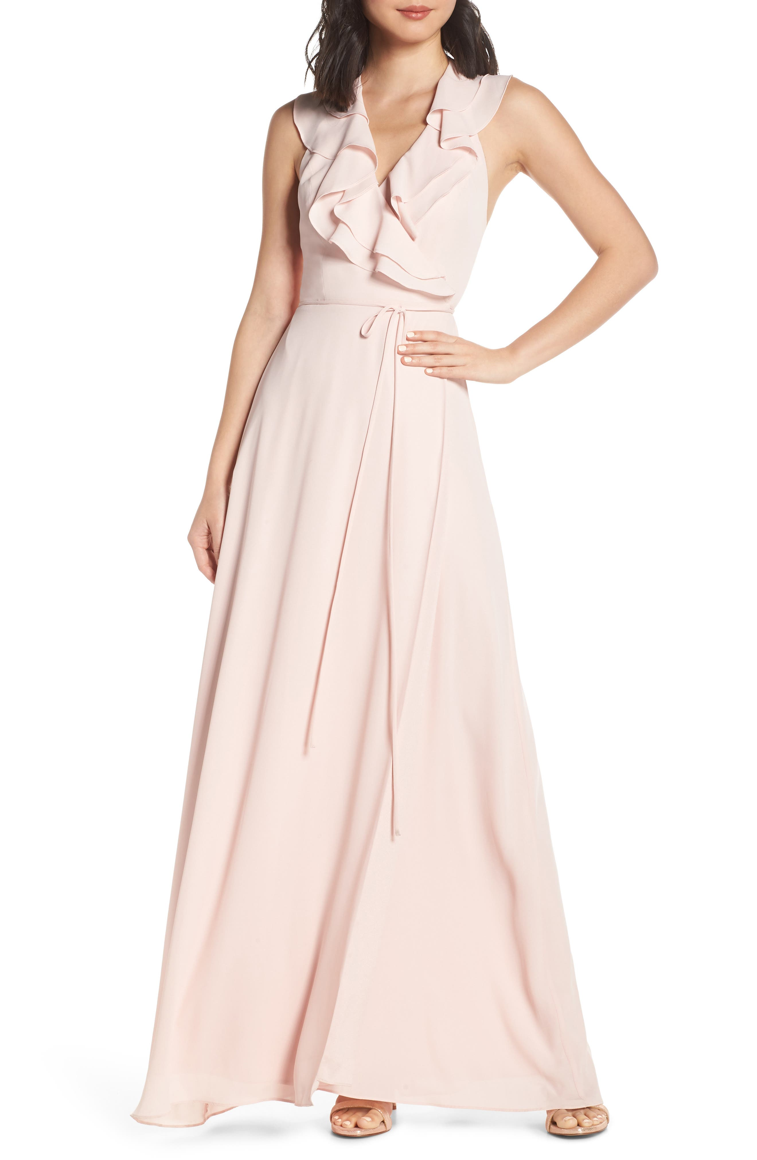 Wayf The Riley Lace-Up Back Wrap Evening Dress, Pink