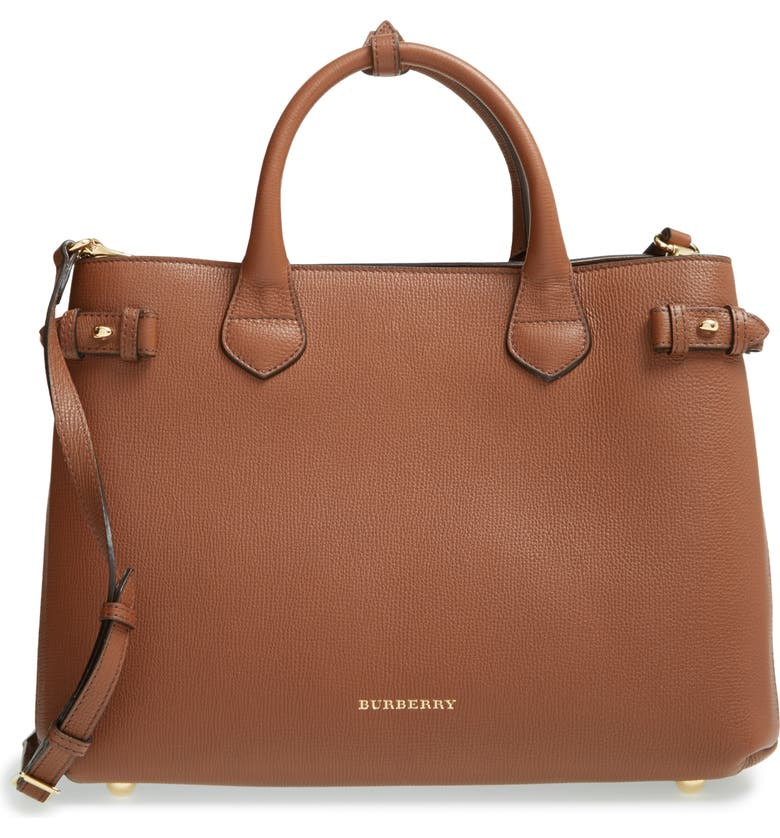 b44233d572 Burberry Medium Banner House Check Leather Tote | Nordstrom