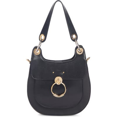 Chloe Medium Tess Calfskin Leather Hobo Bag - Black