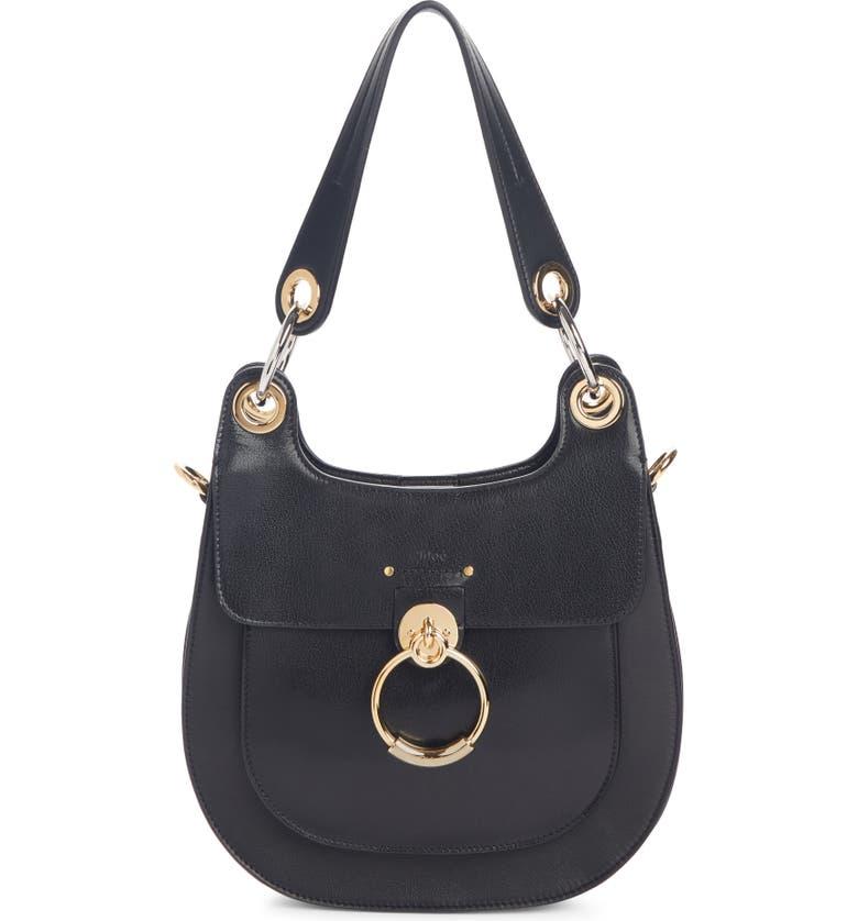 CHLOÉ Medium Tess Calfskin Leather Hobo Bag, Main, color, BLACK