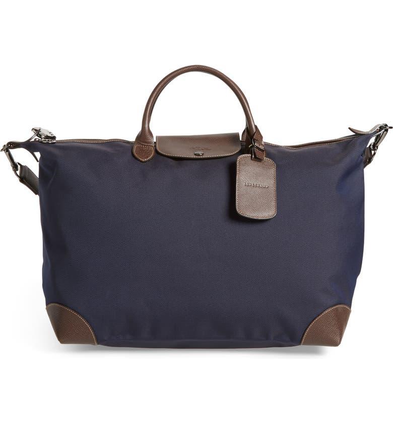 LONGCHAMP Boxford Canvas & Leather Travel Bag, Main, color, BLUE