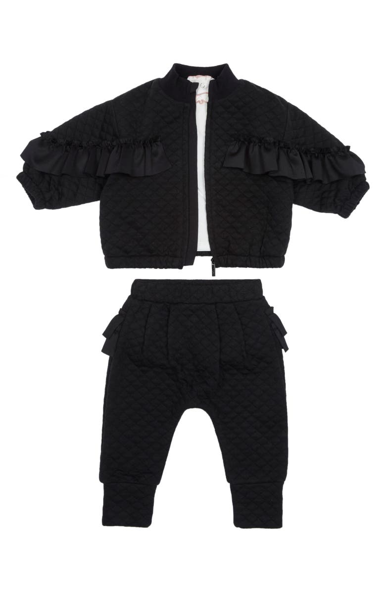 HABITUAL Jada Ponte Tee, Quilted Bomber Jacket & Pants Set, Main, color, BLACK