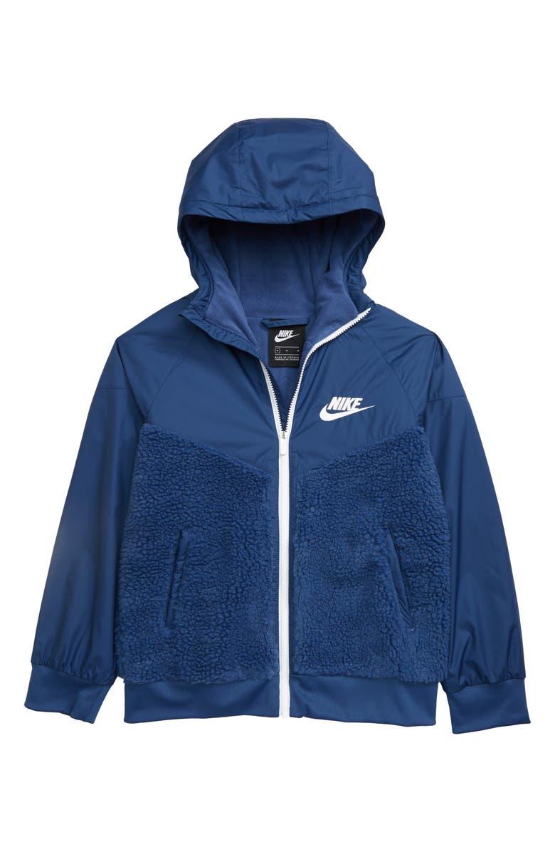 NIKE Windrunner Winterized Jacket, Main, color, MYSTIC NAVY/ WHITE