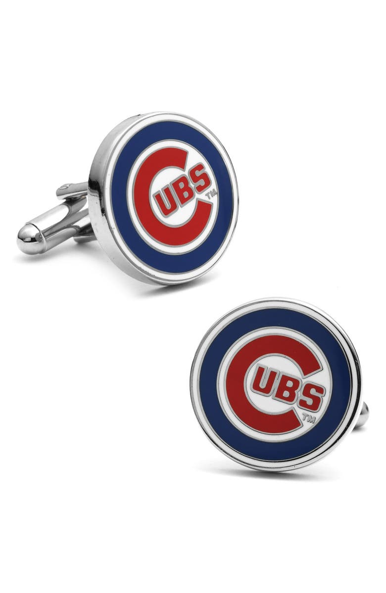 CUFFLINKS, INC. 'Chicago Cubs' Cuff Links, Main, color, BLUE/ RED/ WHITE