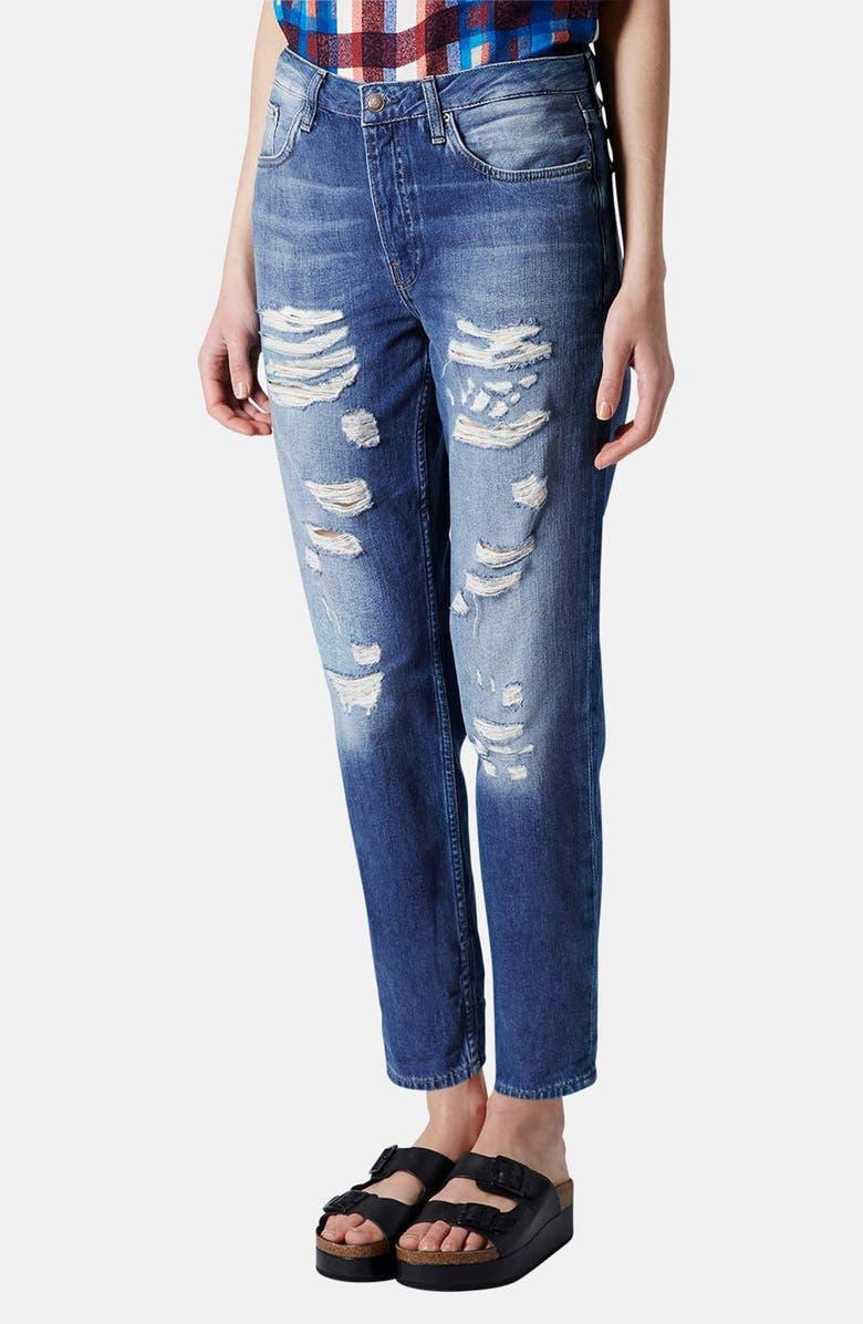 TOPSHOP Moto 'Hayden' Destroyed Boyfriend Jeans, Main, color, 420