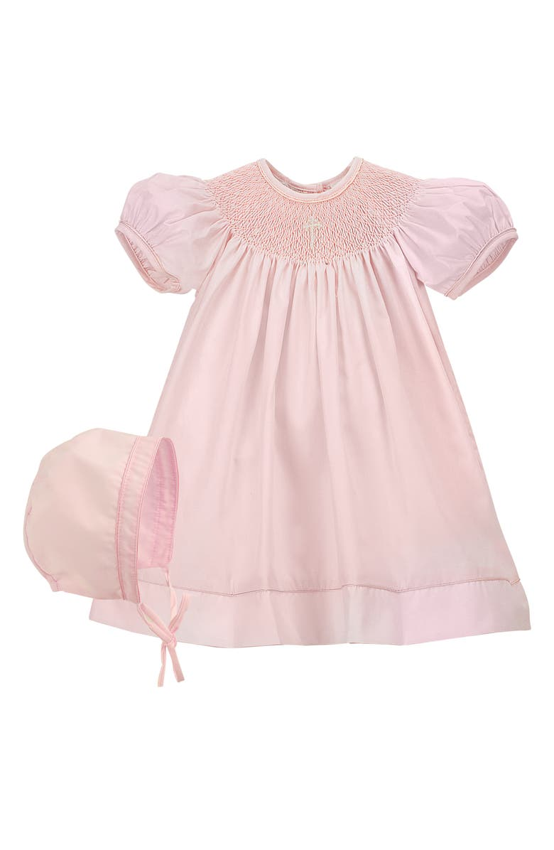 CARRIAGE BOUTIQUE Imitation Pearl Cross Christening Gown & Bonnet Set, Main, color, PINK