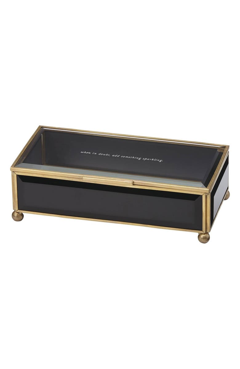 KATE SPADE NEW YORK 'when in doubt, add something sparkling' glass jewelry box, Main, color, 001