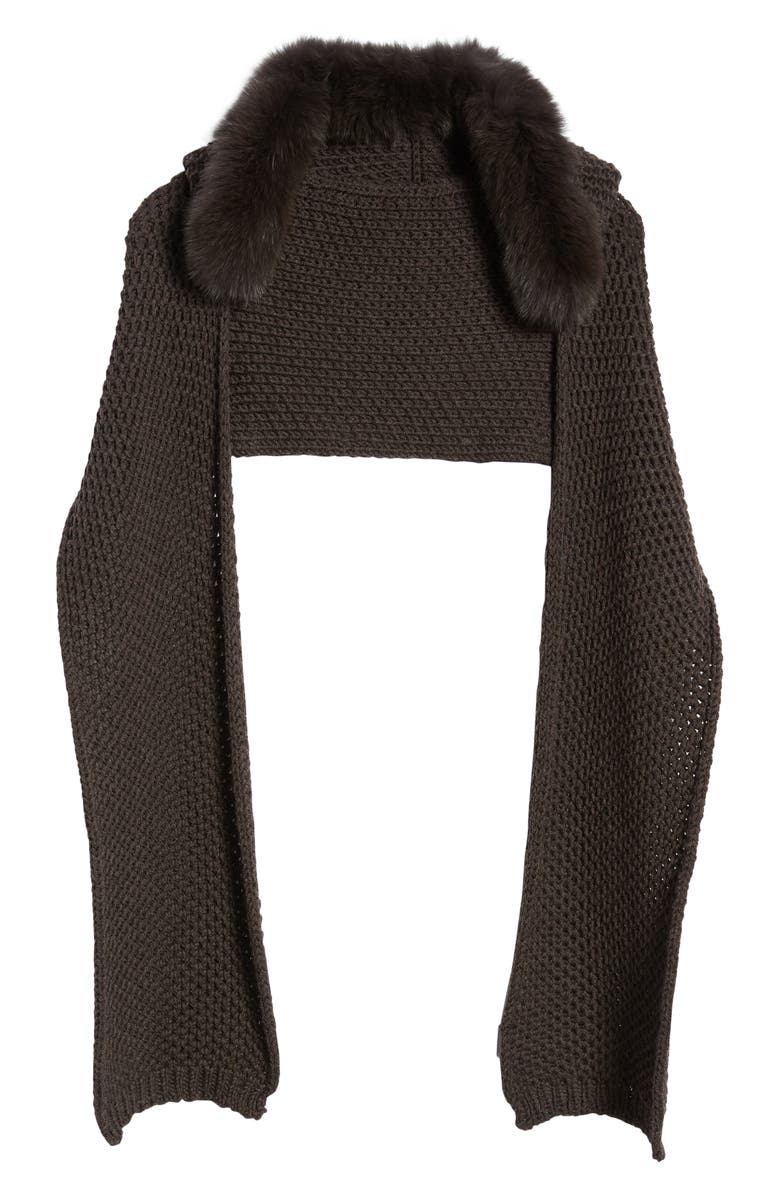 MAX MARA Jajce Hooded Knit Scar with Genuine Fox Fur Trim, Main, color, DARK BROWN