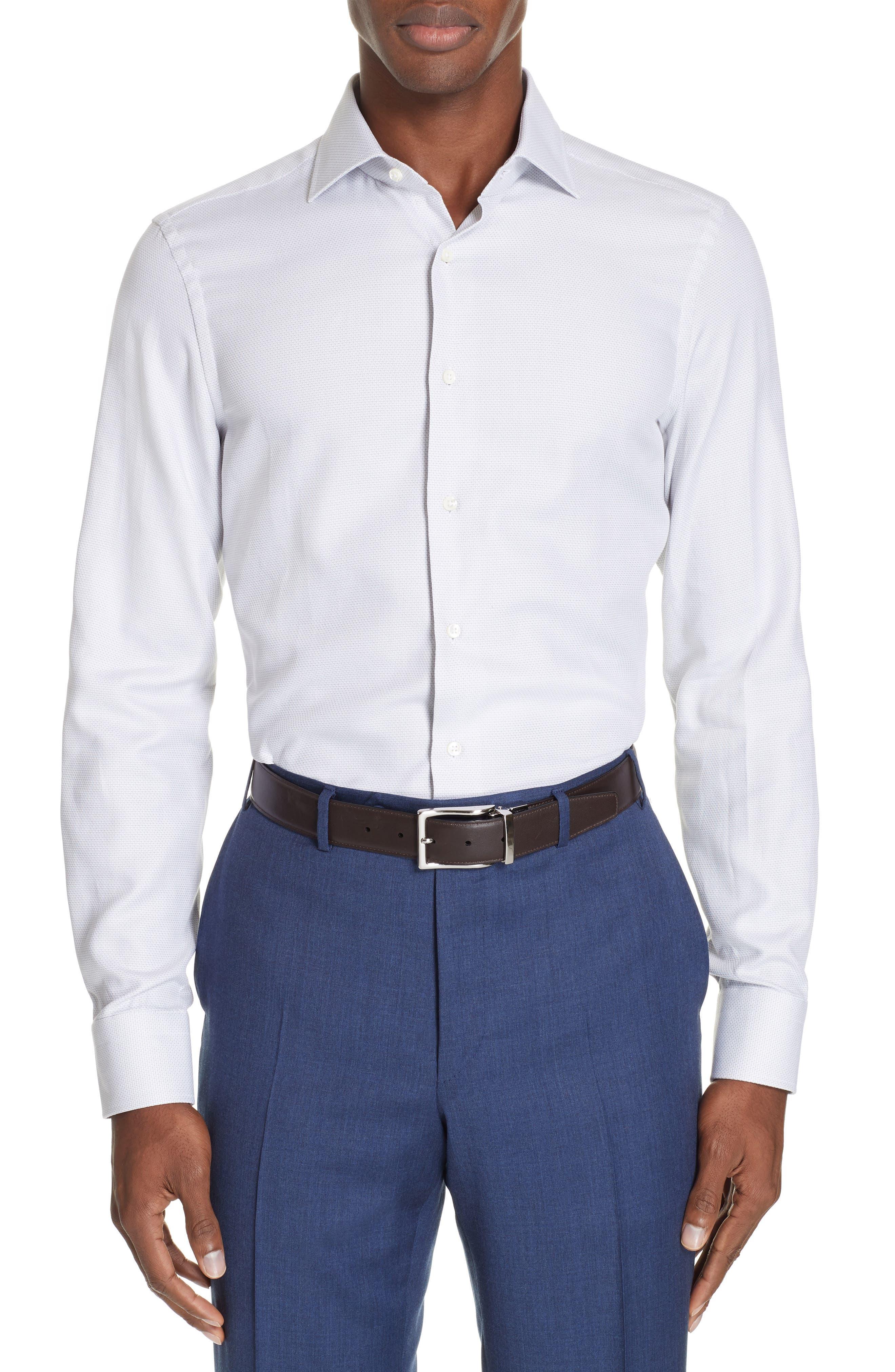 Regular Fit Solid Dress Shirt, Main, color, SILVER