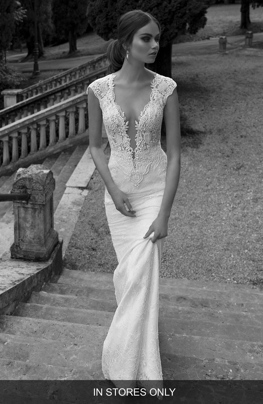 Berta Sheer Back Lace Gown