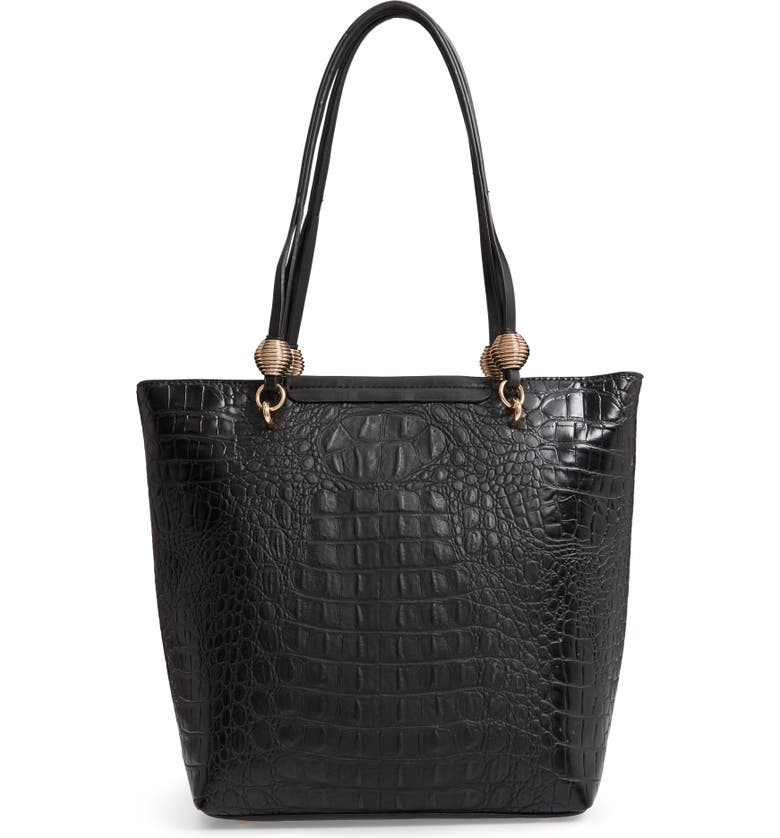 SONDRA ROBERTS Croc Embossed Faux Leather Tote, Main, color, 001