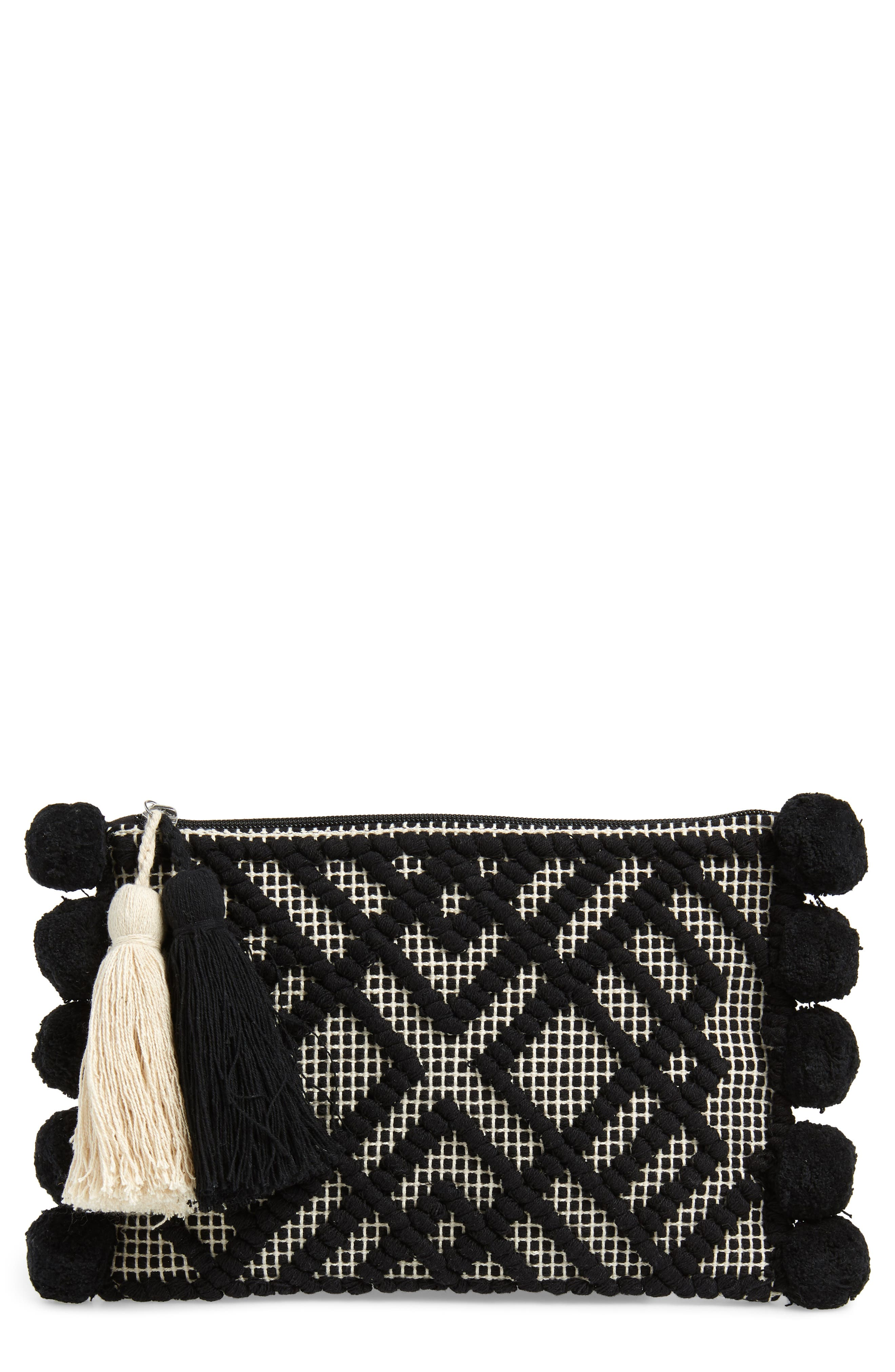 Willa Zip Pouch Bag, Main, color, BLACK/ IVORY