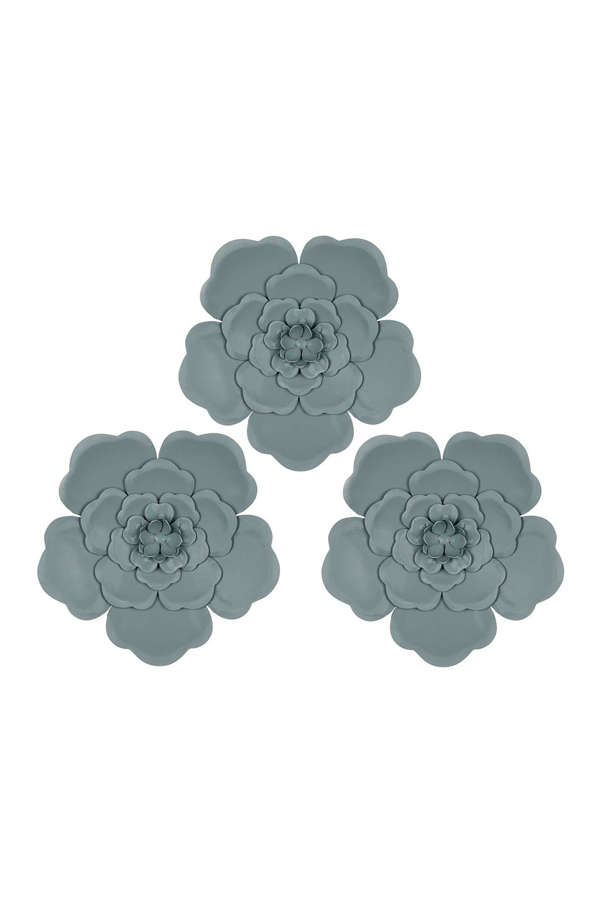 Image of Stratton Home Distressed Light Blue Flowers Wall Decor - Set of 3