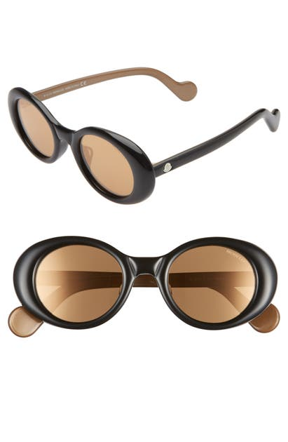 Moncler Sunglasses 48MM ROUND SUNGLASSES - SHINY BLACK/ GOLD MIRRORED