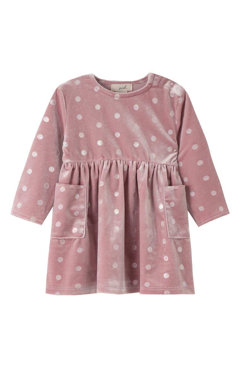 PEEK ESSENTIALS Pann? Velvet Dot Dress, Main, color, LAVENDER