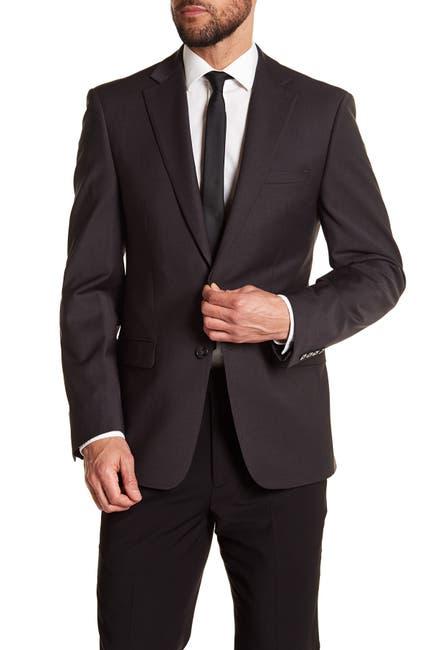 Image of Calvin Klein Solid Gray Wool Suit Suit Separate Jacket