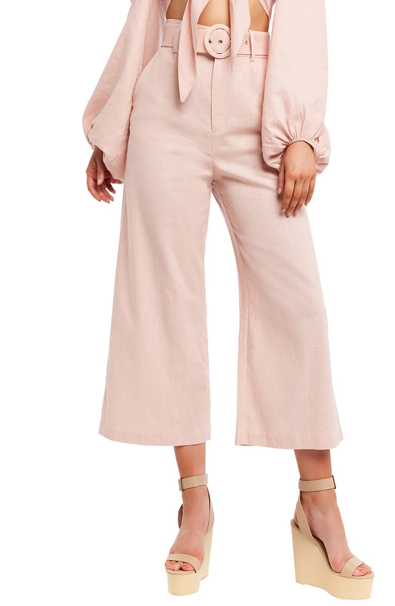 BARDOT Lenny Belted High Waist Crop Wide Leg Pants, Main, color, LATTE PINK