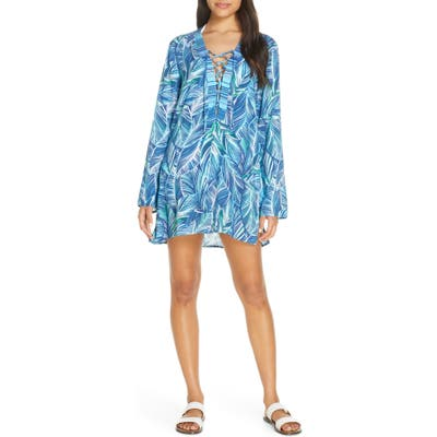 La Blanca Sketched Leaves Long Sleeve Tunic Cover-Up, Blue