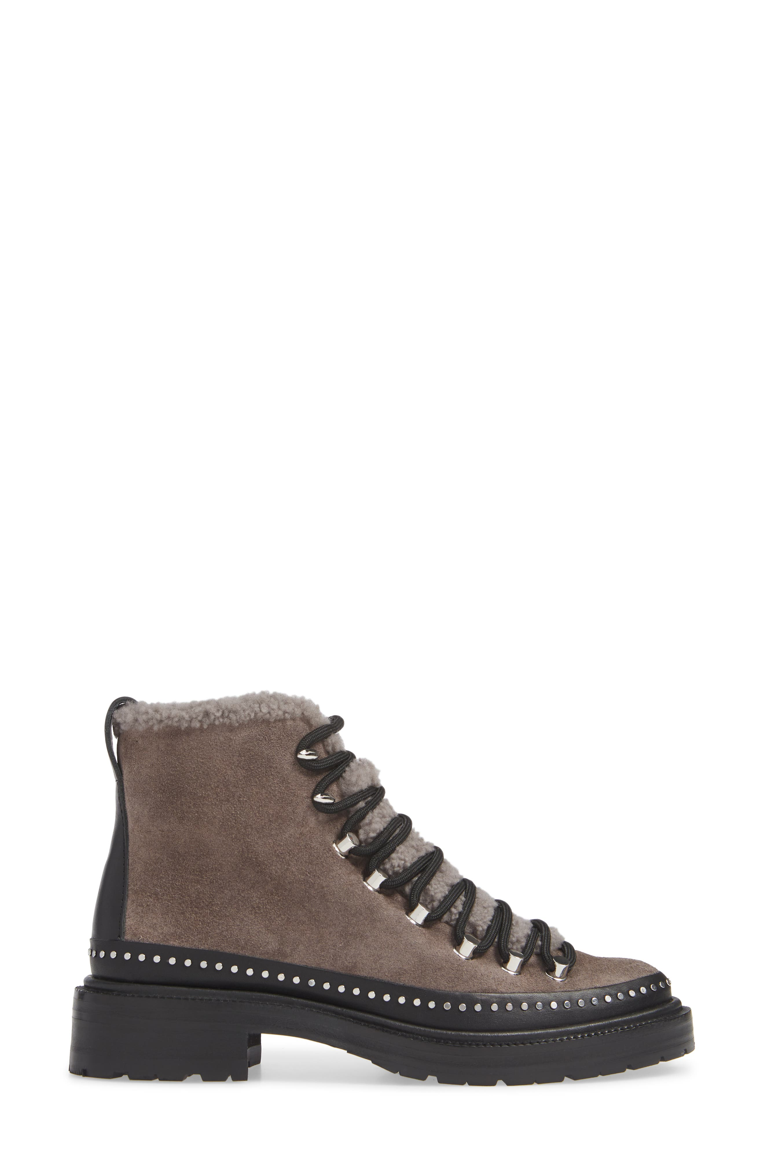 ,                             Compass Genuine Shearling Combat Boot,                             Alternate thumbnail 3, color,                             ELEPHANT SUEDE