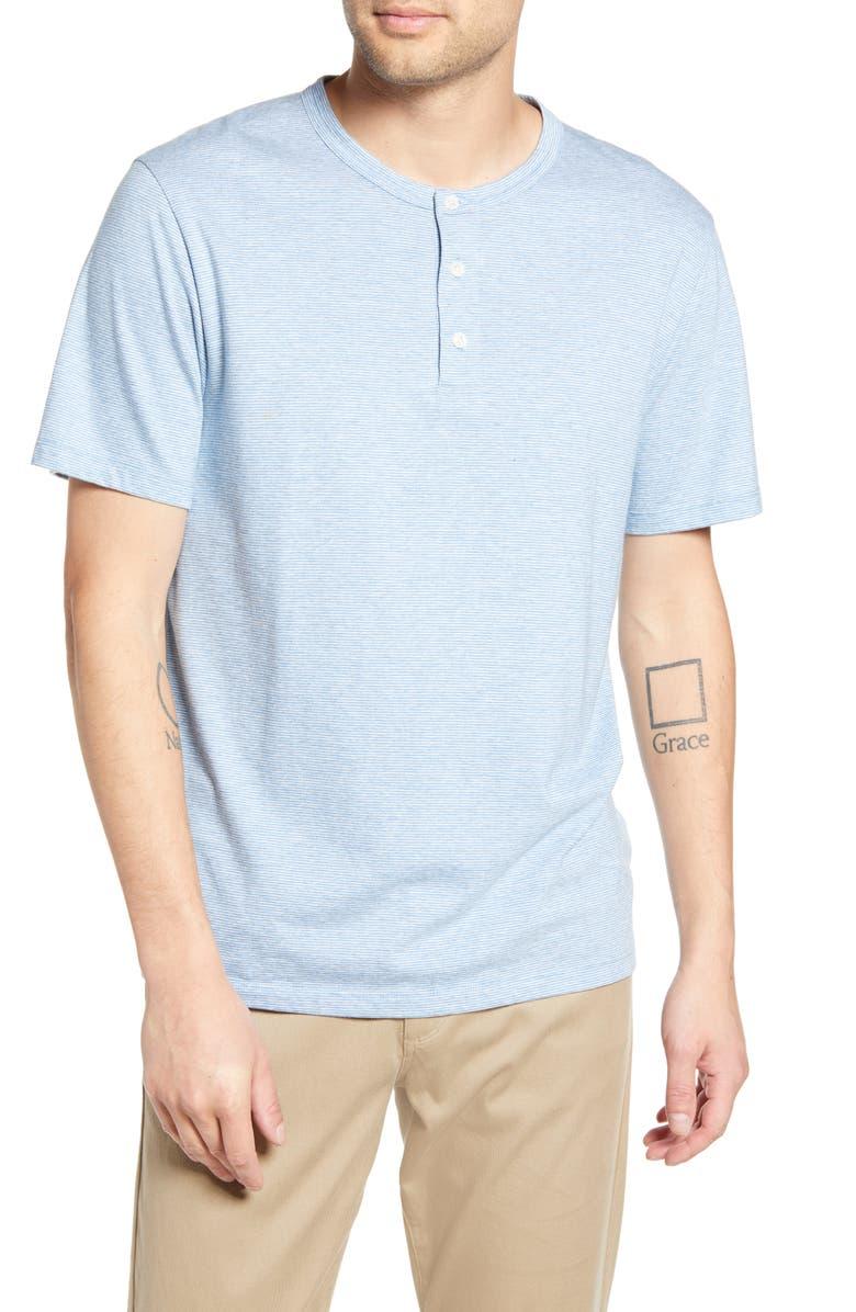 VINCE Stripe Cotton Blend Henley T-Shirt, Main, color, HAZY SKY/H GREY