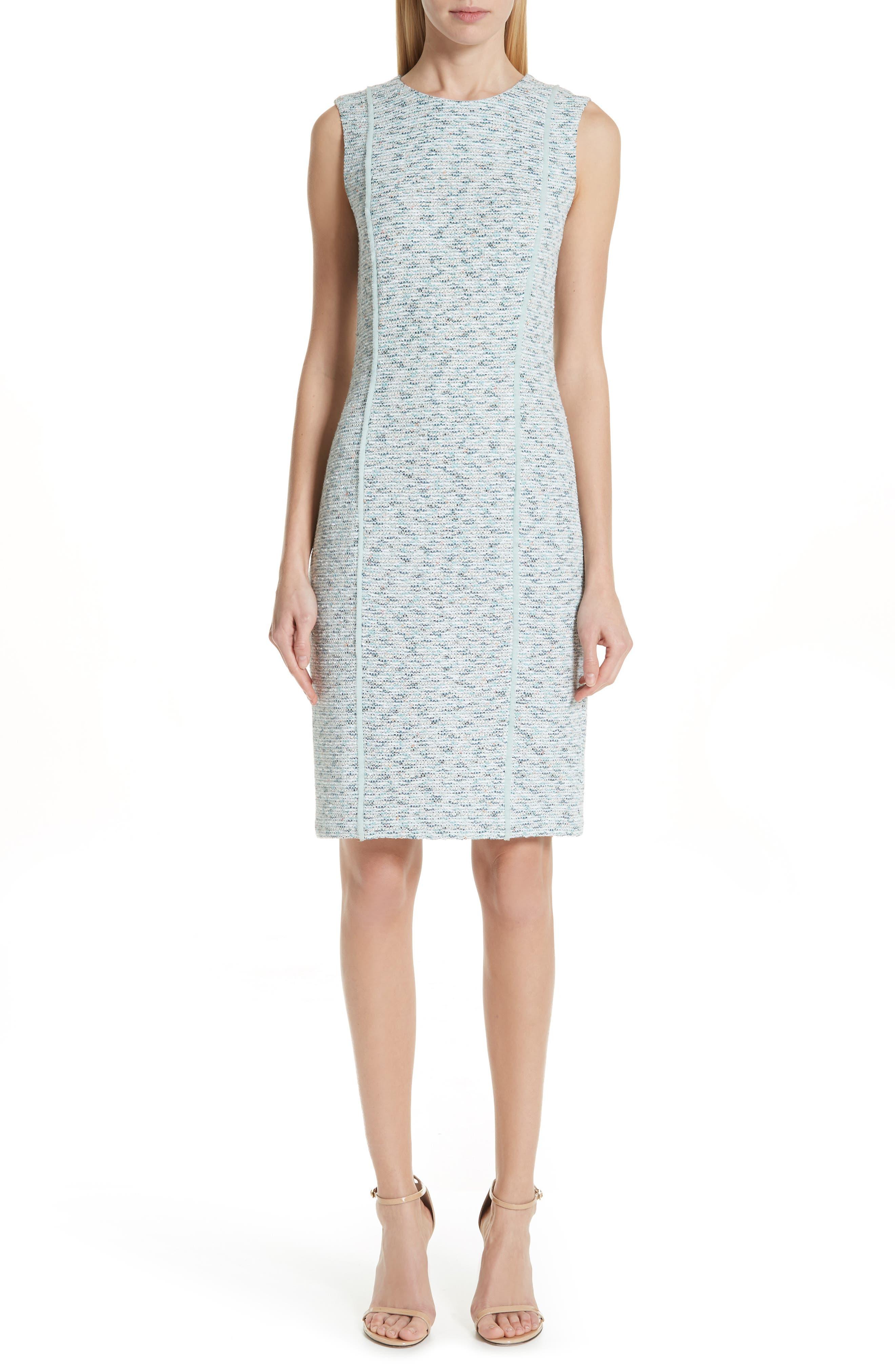 St. John Collection Alessandra Knit Sheath Dress, Blue