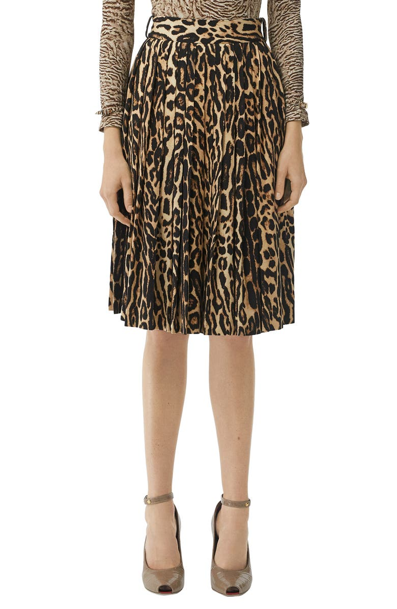 BURBERRY Pleated Leopard Print Stretch Silk Skirt, Main, color, CAMEL