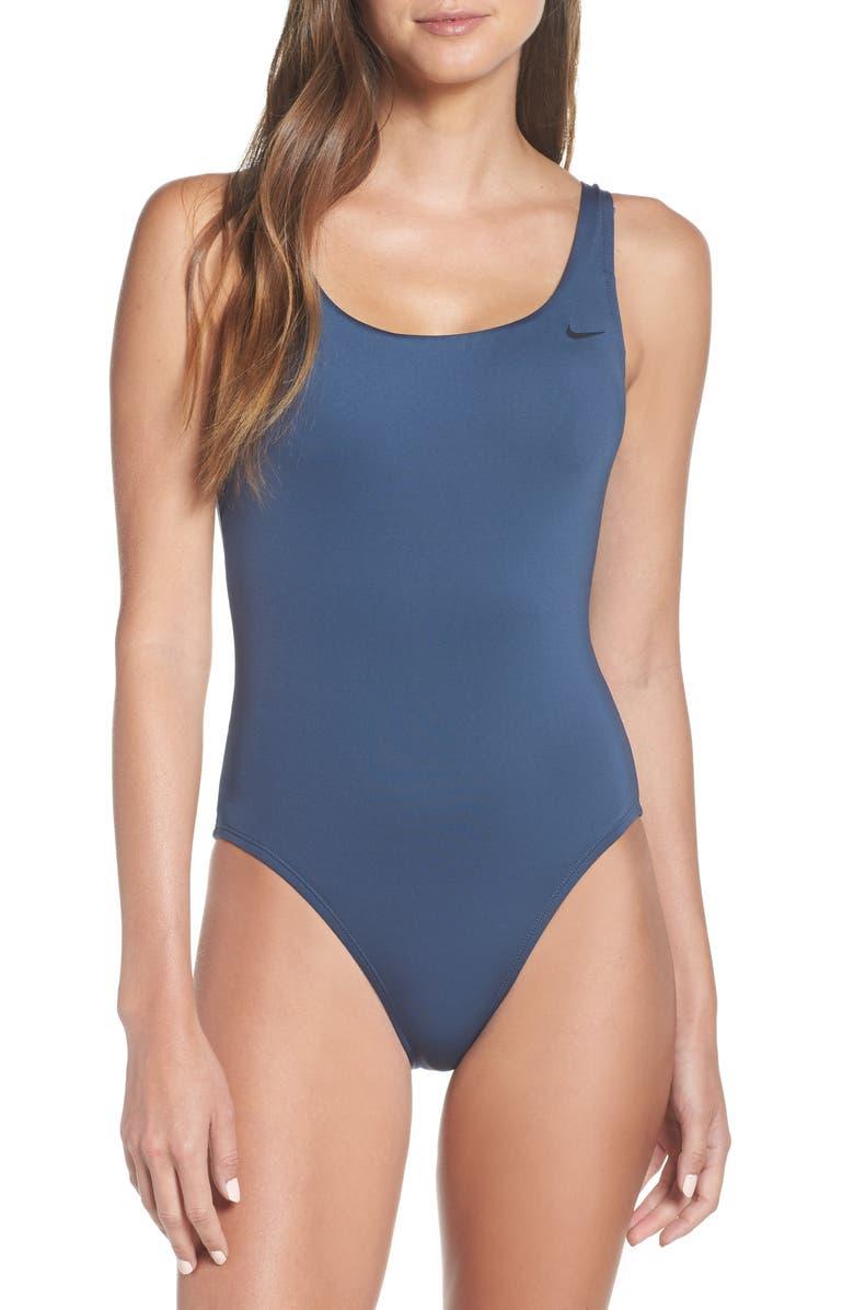 NIKE U-Back One-Piece Swimsuit, Main, color, MONSOON BLUE