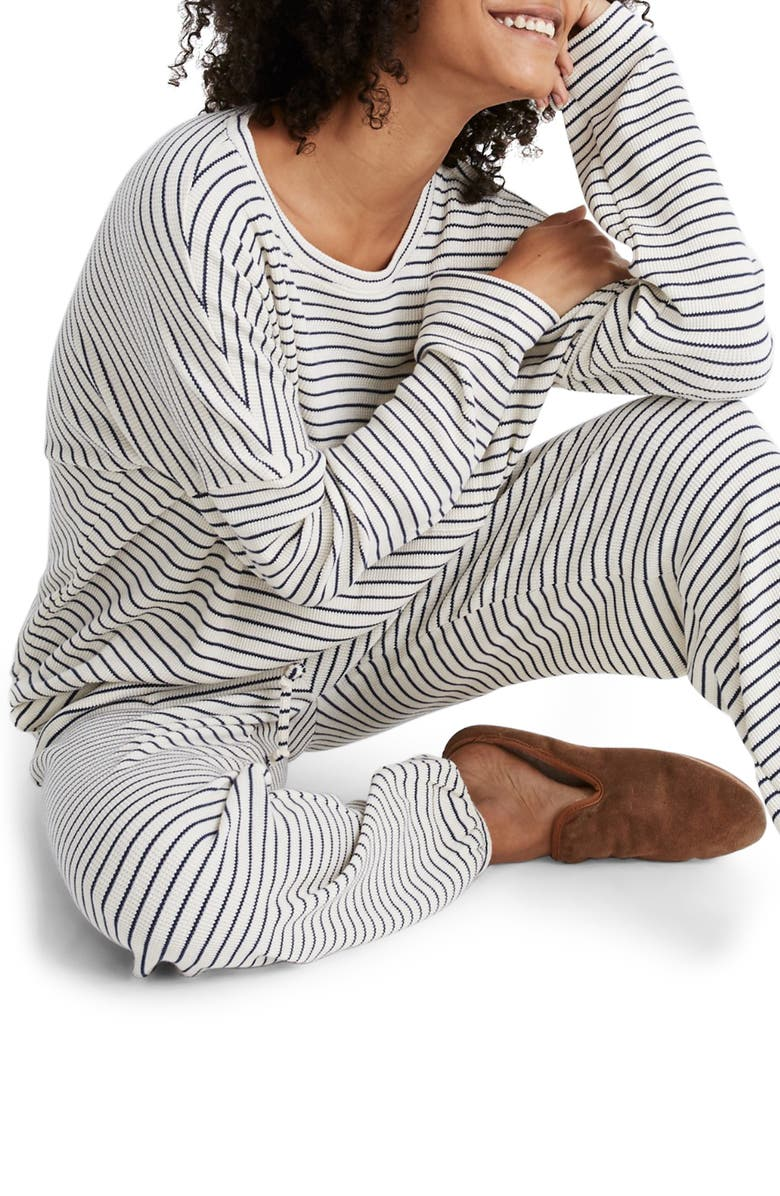 MADEWELL Stripe Waffle Knit Pajama Top, Main, color, 100