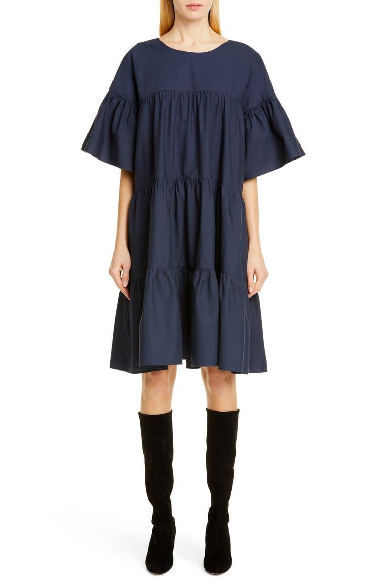 MERLETTE St. Germain Tiered Dress, Main, color, NAVY