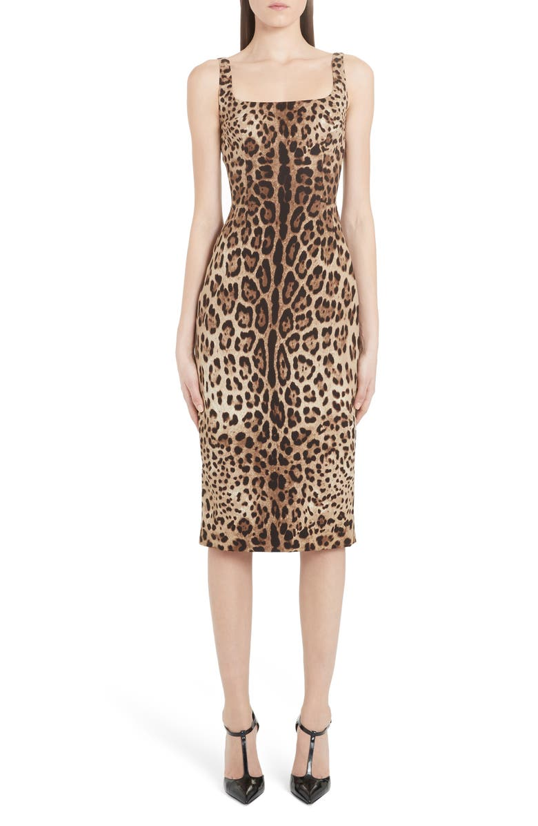 DOLCE&GABBANA Leopard Print Stretch Silk Midi Sheath Dress, Main, color, 230