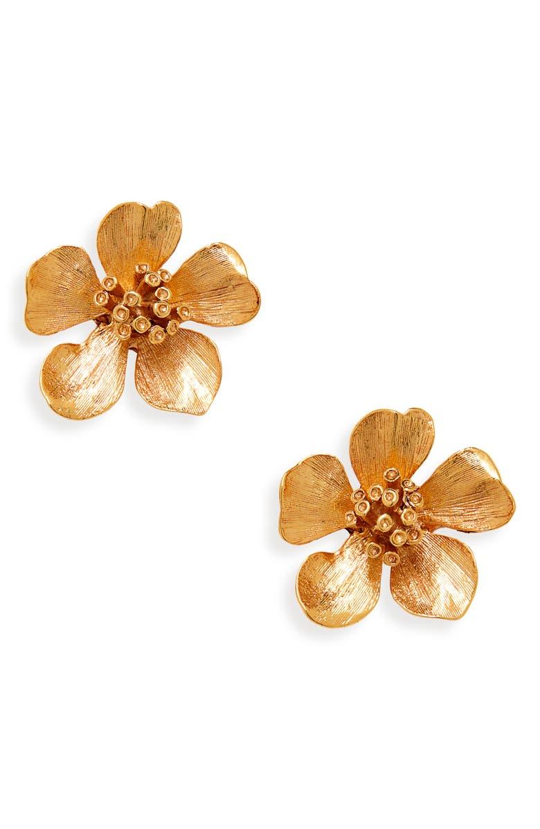 OSCAR DE LA RENTA Classic Flower Button Earrings, Main, color, GOLD