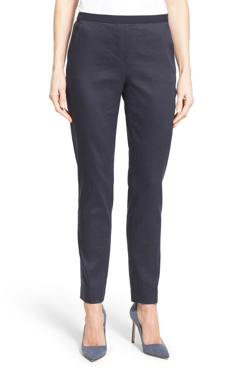 ELIE TAHARI 'Alanis' Linen Blend Crop Pants, Main, color, 002