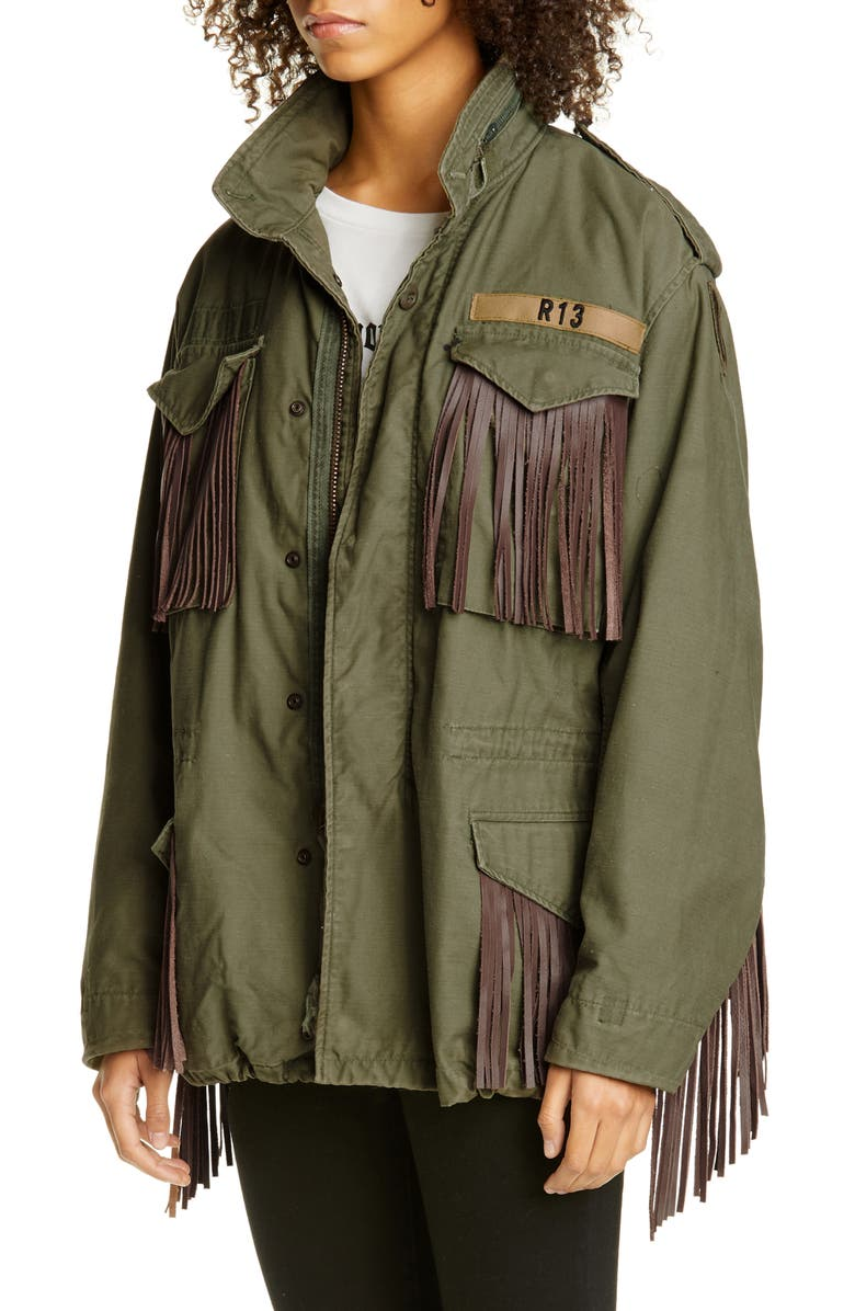 R13 Leather Fringe Repurposed M65 Jacket, Main, color, 300