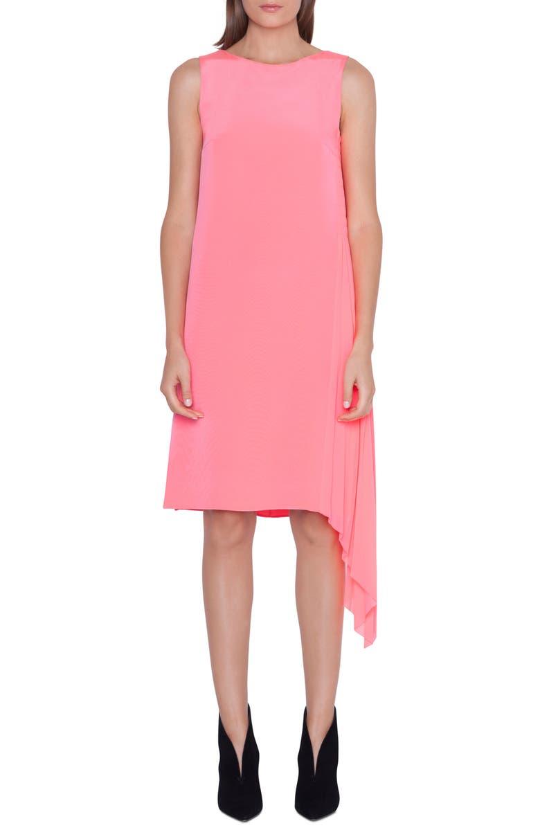 AKRIS Asymmetrical Plissé Silk Crêpe Dress, Main, color, 650