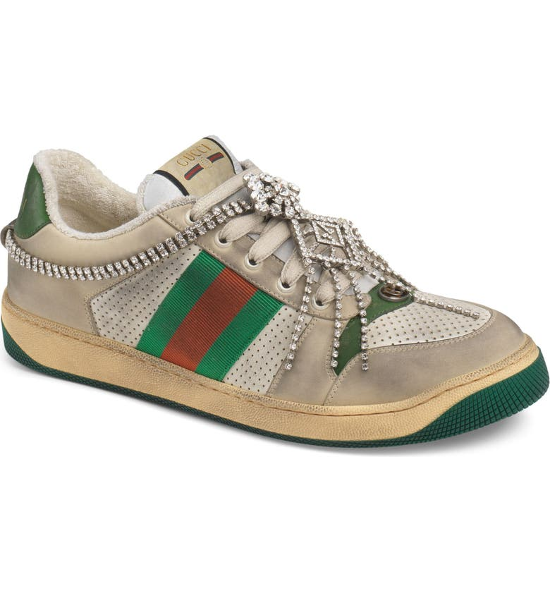 GUCCI Screener Jewel Sneaker, Main, color, BEIGE/ GREEN/ RED