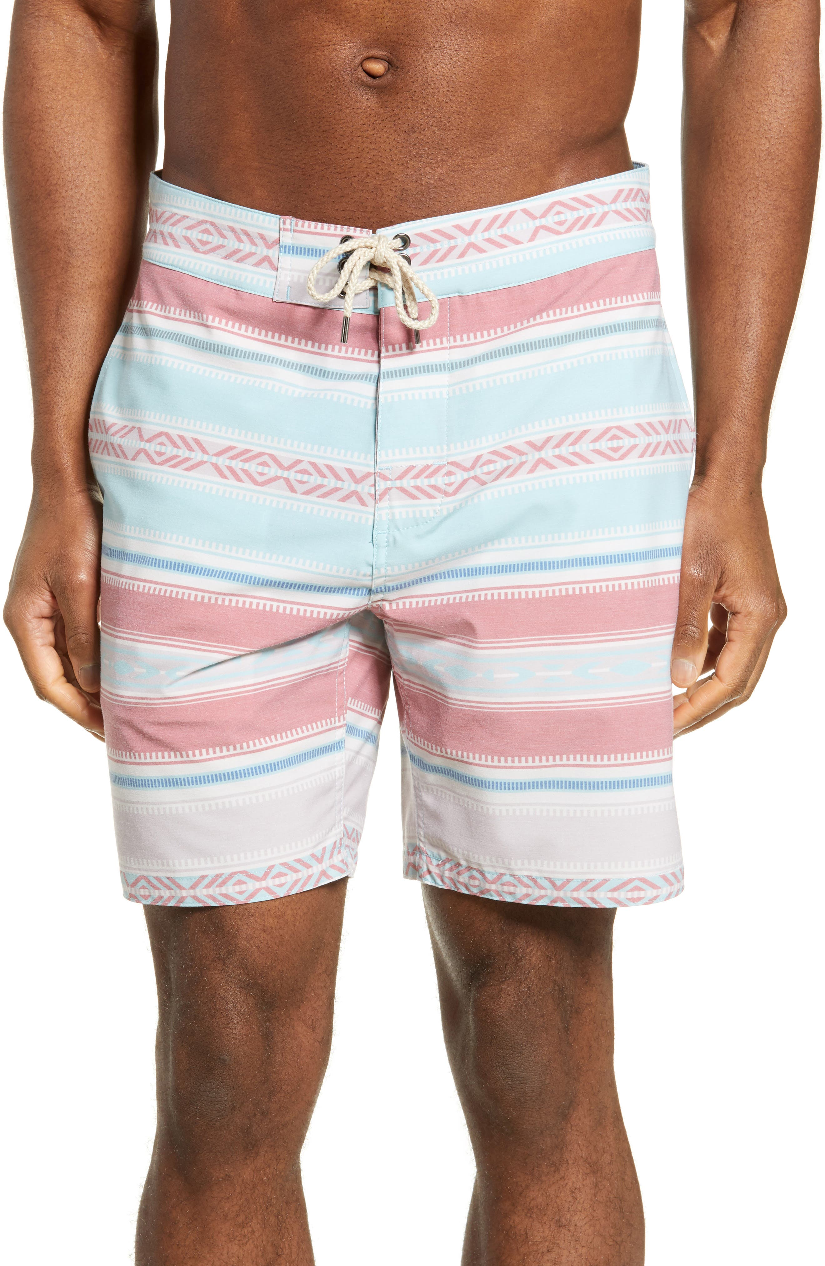 Faherty Stripe Board Shorts, Coral