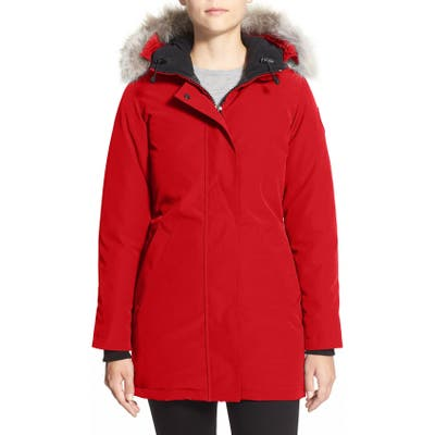 Canada Goose Victoria Down Parka With Genuine Coyote Fur Trim, Red