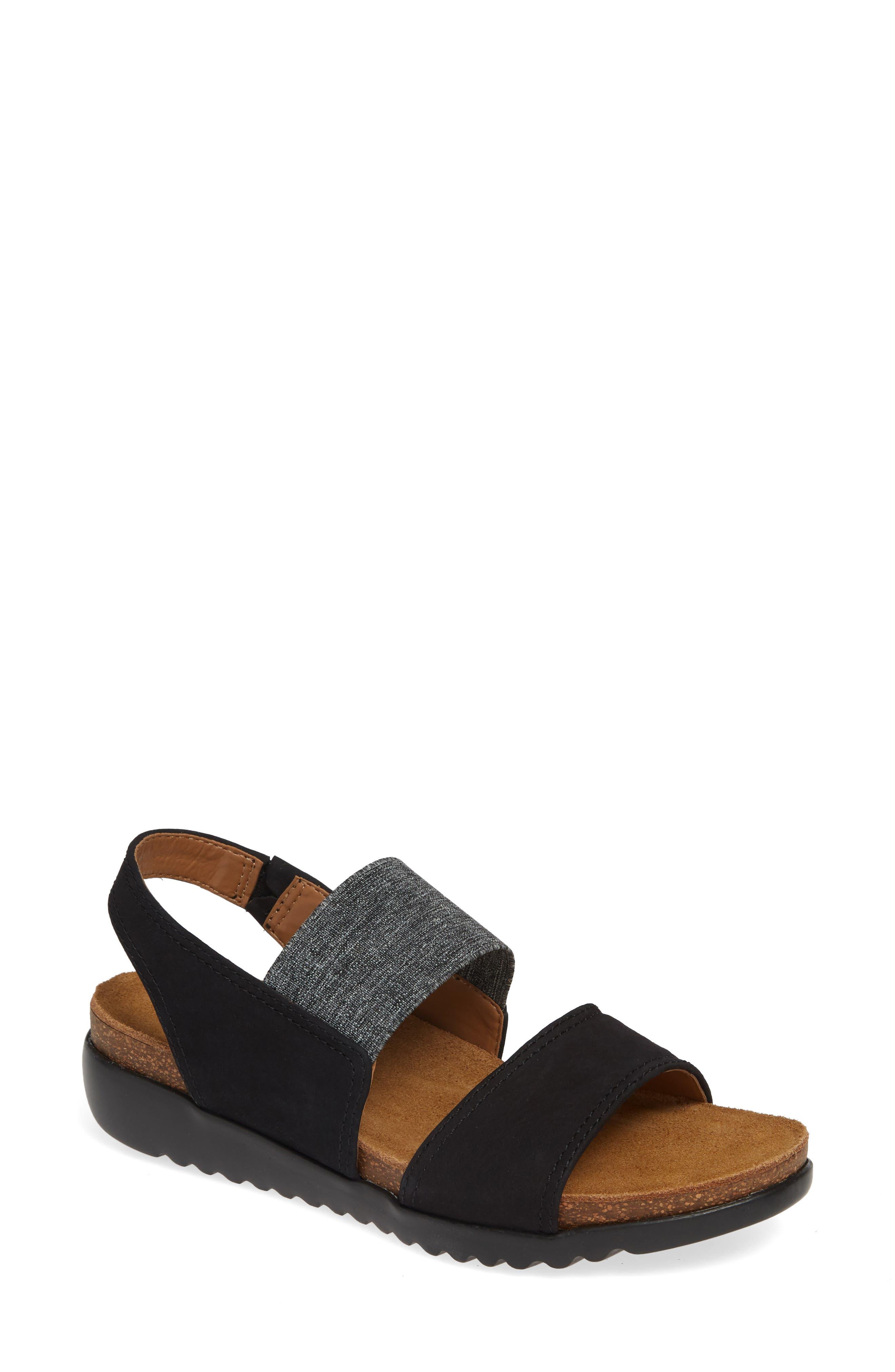 Comfortiva Elicia Wedge Sandal, Black