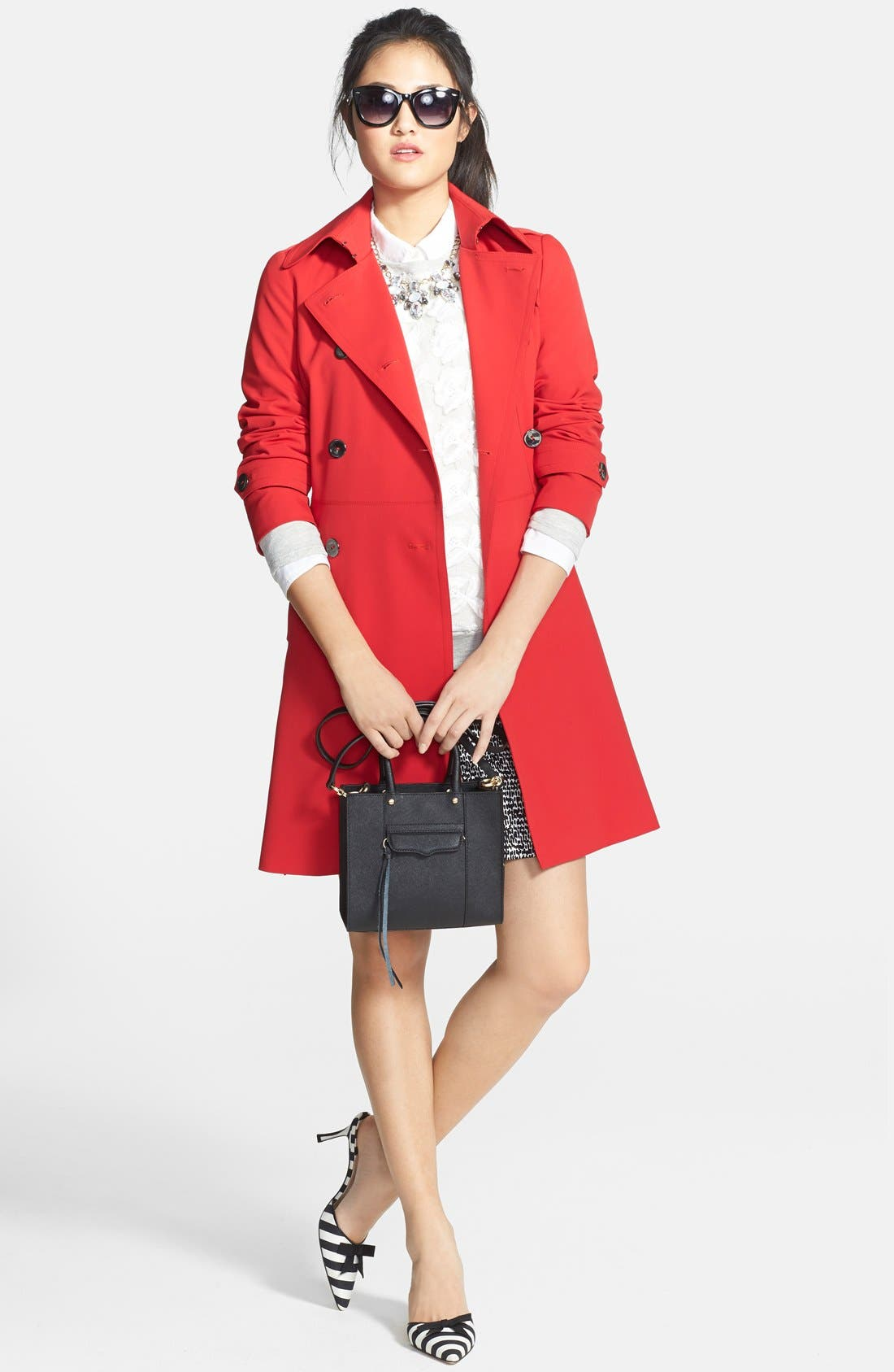 ,                             'Juliette' Double Breasted Skirted Trench Coat,                             Alternate thumbnail 8, color,                             600