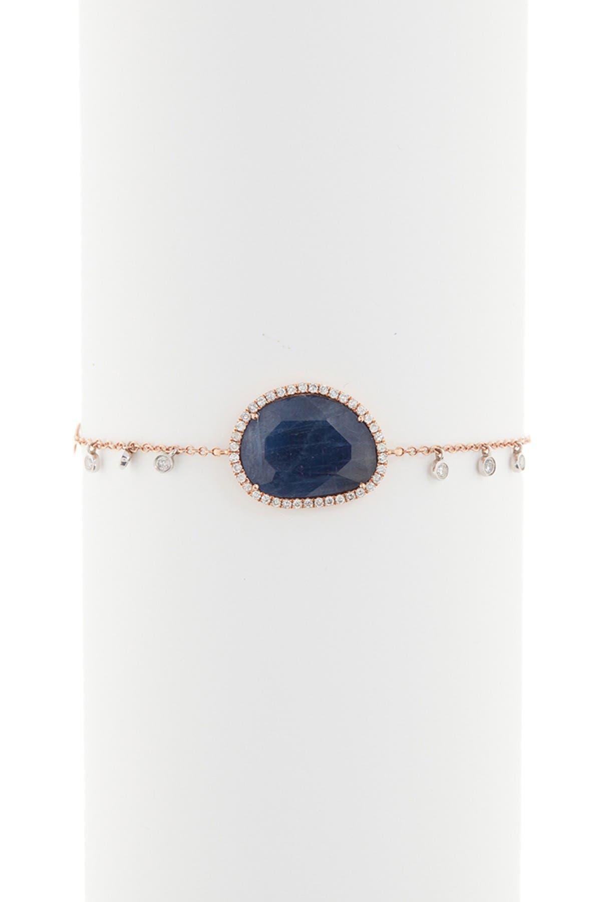 Image of Meira T 14K Rose Gold Blue Sapphire & Pave Diamond Charm Bracelet