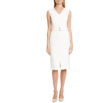 Boss Dadorina Belted Sleeveless Virgin Wool Sheath Dress, Ivory