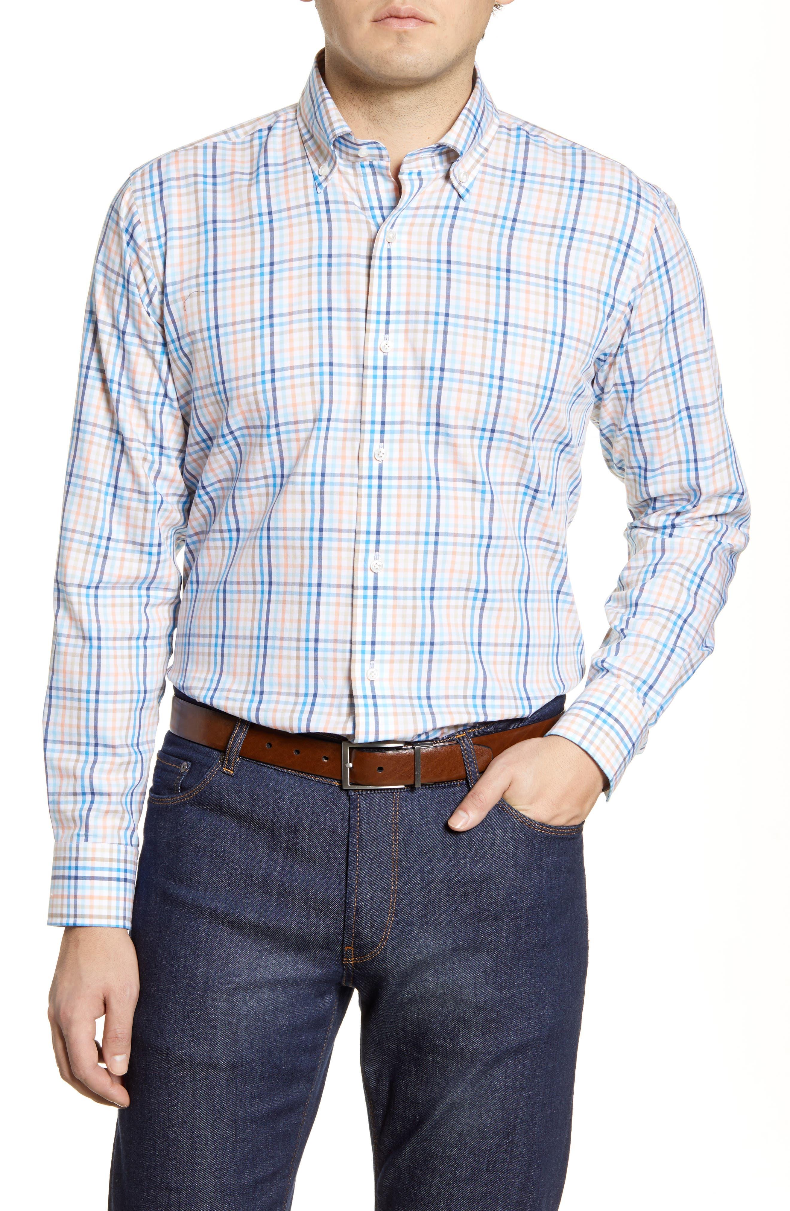 Image of Peter Millar Sunset Check Regular Fit Sport Shirt