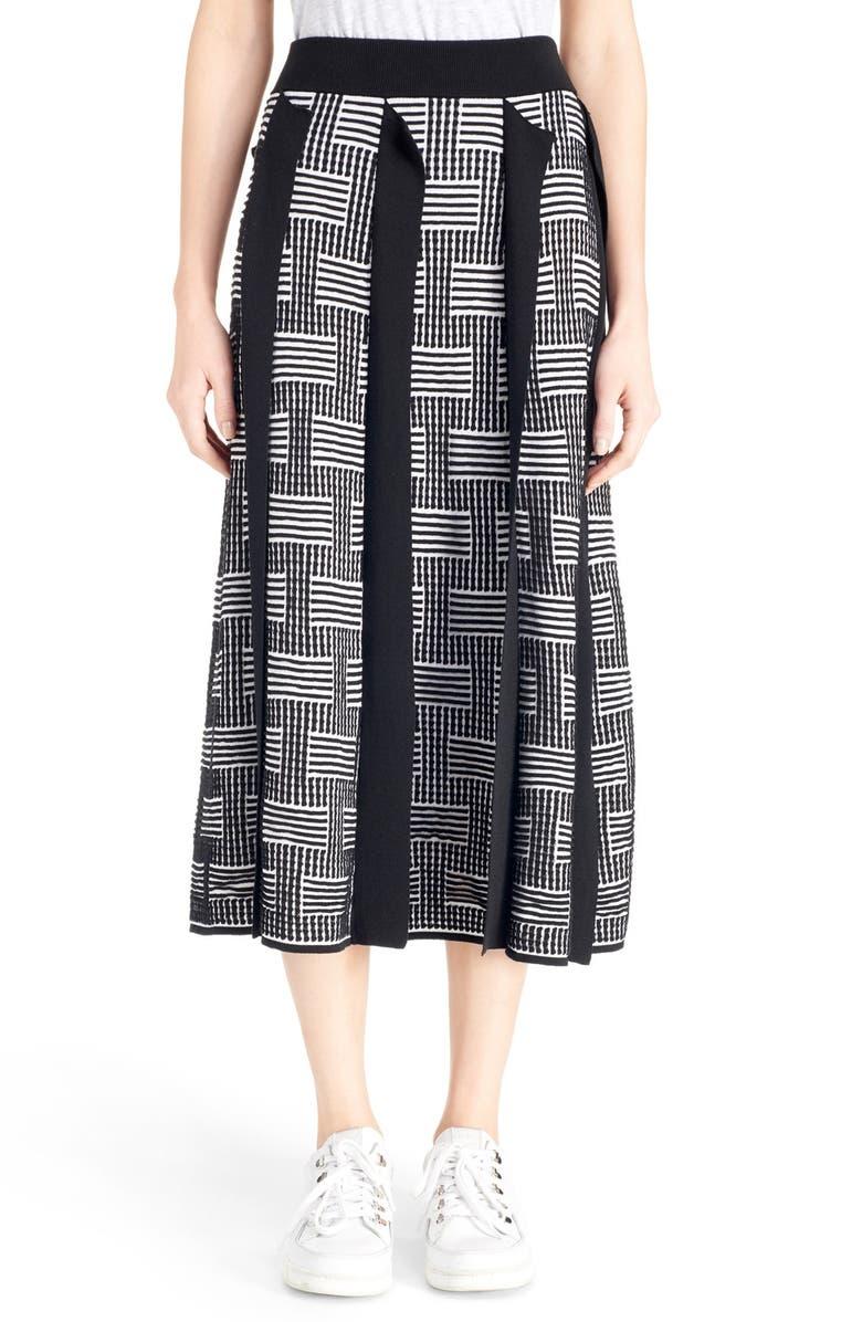 KENZO 'NY Stripes' Silk & Cotton Jacquard Knit Skirt, Main, color, 001